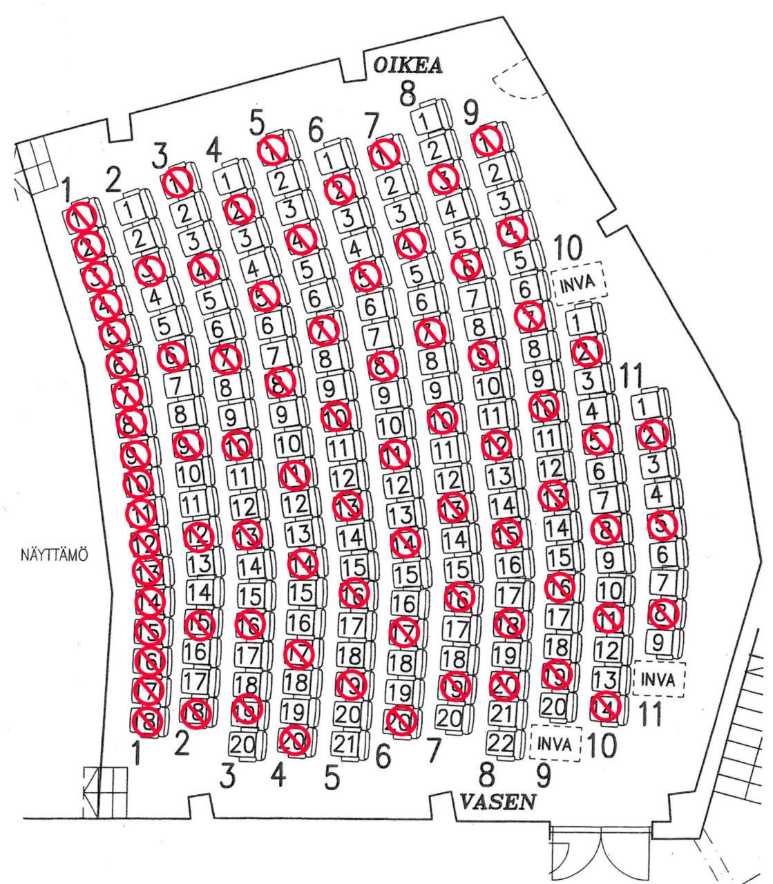 Lohjan Teatterin korona-aikainen paikkakartta, kuva
