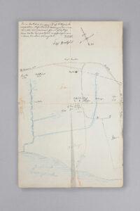 Piirretty kartta museoalueesta 1800-luvulla. Karttaan merkitty rakennusten sijaintipaikat.