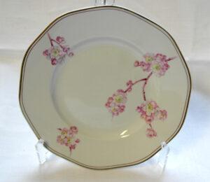Valkoinen lautanen, jonka reunaa kiertää raita. Lisäksi vaaleanpunainen kirsikankukka-aiheinen koristelu.
