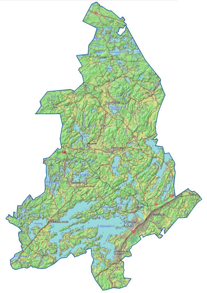 Tarkastelu sisältää koko Lohjan kaupungin alueen.