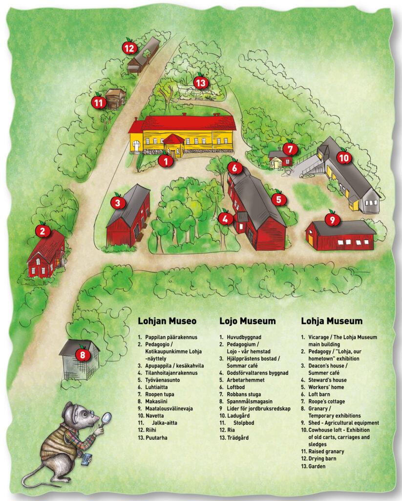 piirretty kartta museoaalueesta