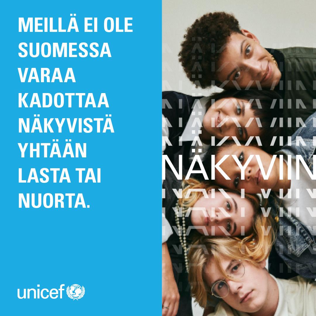 Nuoria katsomassa kohti kameraa. Unicefin näkyviin -kampanjan mainos.